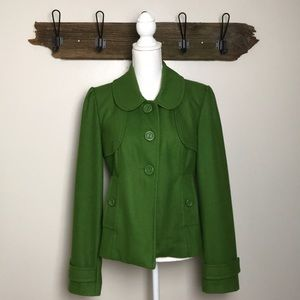 Anthropologie Tulle Coat Wool Blend Spring Green
